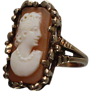 10k - Rectangular Carved Carnelian Cameo in fancy Floral Protruding Beaded Style Ring in Yellow Gold