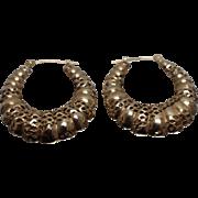 14k - Scalloped Slotted Hoop Dangle Drop Earrings in Yellow Gold