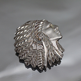 925 - Native American Chief Head with Headdress Pendant Charm in Sterling Silver