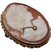 14k - Victorian Carved Cameo with Diamond Necklace in Yellow Gold
