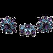 14k - 10.5 CTW - Purple Amethyst & Blue Topaz Earring & Pendant Set in White Gold