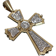 14k - .50 ct - Diamond Flared Cross Pendant in White & Yellow Gold