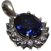925 - 2.35 ct - Blue & White Sapphire Halo Pendant Charm in Sterling Silver