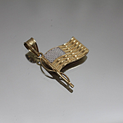 14k - Two Tone American Flag Pendant Charm God Bless America in White & Yellow Gold