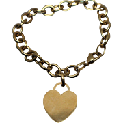 14k - Cable Link Bracelet with Heart Charm Dangle in Yellow Gold