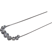 "925 - Graduated Beaded Cubic Zirconia CZ Slide Chandelier on 18""  Rounded Snake Chain in Sterling Silver"