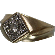 14k - .35 ct - Mens Diamond Geometric Offset Cluster Ring in Yellow Gold