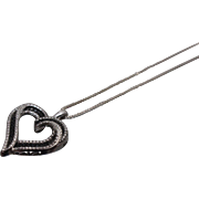 "925 - .25 ct - Black Diamond Sash Swirl Heart Pendant Charm on 20"" Box Link Chain in Sterling Silver"