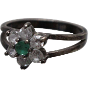 925 - Vintage Flower Style Cluster Ring with Green & Clear CZ Halo in Sterling Silver