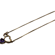 """18k - .25 ct  - Triple Heart Fixed Pendant on 16"""" Thin Chain in Yellow Gold"""