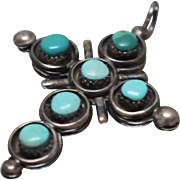 925 - Southwestern 2 Way Reversible Turquoise & Coral Fancy Cross Pendant Charm in Sterling Silver