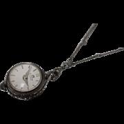 .900 - Bucherer Skeleton Back - 17 Jewel Mechanical Watch Pendant on Silver Chain Fob