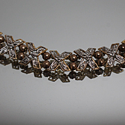 "10k - 7.5"" - Art Deco Hand Made Beaded X link in Yellow Gold"