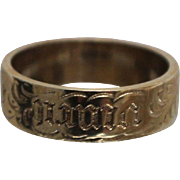 """9ct - Victorian Carved Amor Vincit Omnia """"Love Conquers All"""" Band from Great Britain in Yellow Gold"""