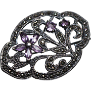 925 - Art Nouveau Amethyst & Marcasite Floral Pin Brooch in Sterling Silver