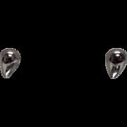 925 - Tear Drop Pear Shaped Dome Style Stud Earrings in Sterling Silver