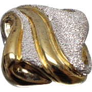 925 - Gold-Tone Textured Abstract Slide Pendant Charm in Sterling Silver