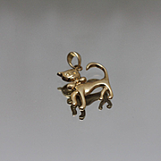 14k - Kitty Cat Tabby Wearing a Bow Tie Pendant in Yellow Gold