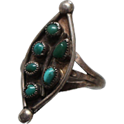 925 - Fancy Marquise Shaped Turquoise Cluster Peapod Lead Style in Sterling Silver
