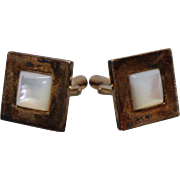 925 - Gold Gilded Mother of Pearl Square Cuff Links in Sterling Silver