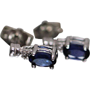 10k - .70 ctw - Sapphire & Diamond Stud Earrings in White Gold