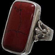 925 - Red / Black Marble Look Stone in Bezel Set Fleur De Lis Ring Sterling Silver