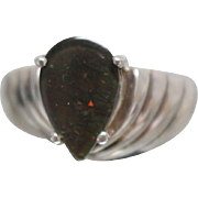 925 - Dark Opal Doublet in Designer Style Grooved Ring of Sterling Silver
