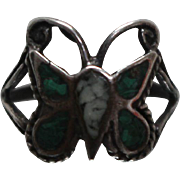 925 - Malachite Inlay Dainty Contoured Butterfly Ring in Sterling Silver