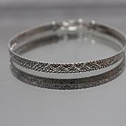 925 - Fancy Engraved Herringbone Italian Bracelet in Sterling Silver