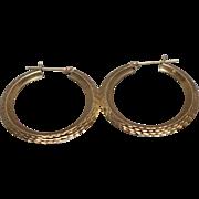 14k - Diamond Cut Hoops Earrings in Yellow Gold