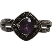 925 - 1.00 ctw - Amethyst Halo Split Sides Ring in Sterling Silver