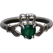 925 - Irish Claddagh Design Ring with Heart Shaped Emerald in Center in Sterling Silver