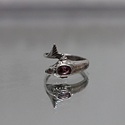 925 - Vintage Dolphin Bypass Ring with Amethyst Accent on Blow Hole in Sterling Silver