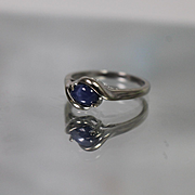 10k - .75 ct - Modernist Blue Star Sapphire in Embedded style Ring in White Gold