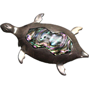 925 - Cute Turtle with Mother of Pearl inlay on its Shell Pin Brooch in Sterling Silver