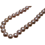 "14k - 16"" - Strand of 8mm Pink Pearls with Fancy Clasp in White Gold"