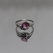 10k - Trillion Cut & Channel Set Pink Sapphire and Diamond Ring in White Gold