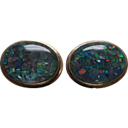 14k - 8.00 ctw - Art Deco Opal Dublet Omega Back Stud Earrings in Yellow Gold