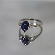 10k - 1.50 ct - Incredible Blue Star Sapphire in Raised Ring in White Gold