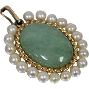 14k - Designer Style Jade with Pearl Halo Mounting Pendant Charm in Yellow Gold