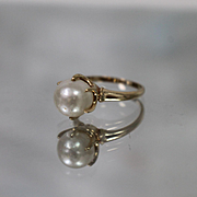 14k - 9mm - Pearl Solitaire in Claw Style Mounting in Yellow Gold