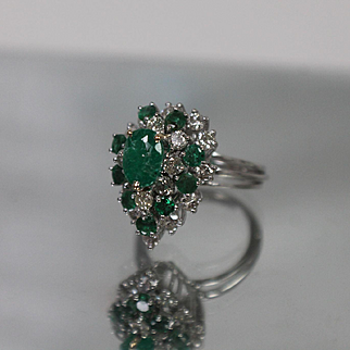 14k - 3.00 ctw - Layered Teardrop Emerald & Diamond Cluster Cocktail Ring in White Gold