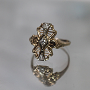14k - .15 ct - Art Deco Filigree Fancy Diamond in Yellow Gold