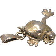 Vintage Hand Detailed Sterling Silver 925 Stretching Frog Toad Pendant Charm