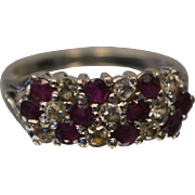 Sterling Silver 925 Ruby and Cubic Zirconia Christmas Special Ring Size 7
