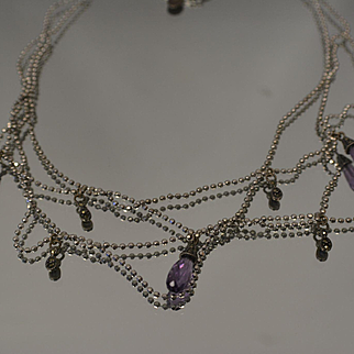Sterling Silver 925 Chandelier Style Beaded Link Necklace With Amethyst and Marcasite Stones