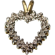 .50 CT - 10KT - Diamond Two Tone Heart Pendant Charm in White & Yellow Gold
