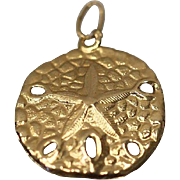 14kt Sand Dollar Nautical Spring / Summer Beach Pendant Charm in Yellow Gold
