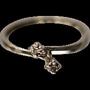 14K Slight Bypass Diamond Engagement Ring in white gold