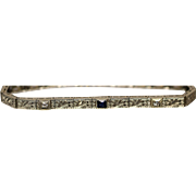1.16 CTW - 18KT -  Edwardian Era Art Deco Diamond and Faceted Sapphire Floral Pattern Bracelet in white gold